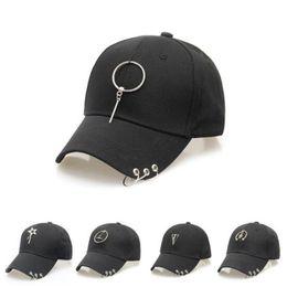 Wholesale Punk Rock Hip Hop Cap - Designer Baseball Cap With Rings Punk Rock Hiphop Summer Street Skate Fitted Snapback For Women Men Hip hop Hats