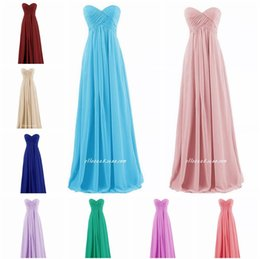 Wholesale Summer Wedding Dresses Colors - Under 50 Cheap Long Bridesmaid Dresses prom dresses Fashion Womens Chiffon A Line wedding guest dress custom colors sizes