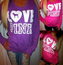 Wholesale Hoodies Christmas - 2017 new Fashion Autumn Long Sleeve round neck Pullovers Christmas Kawaii Tracksuit Love Pink Letters Printed Hoodies flannel Sweatshirt