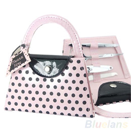 Wholesale Wholesale Bridesmaids Purses - Wholesale- 2016 Pink Polka Dot Purse Manicure Set Women Bridesmaid Christmas Gifts 8LXJ