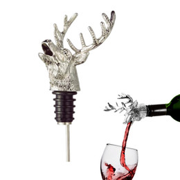Wholesale Deer Stag - 1pc HOMESTIA Zinc Alloy Creative Deer Head Wine Bottle Cork Pourer Stopper Deer Stag Wine Pourer Aerator Barware Decor.Free Shipping