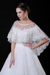 Wholesale Lace Beaded Wedding Boleros - 2018 Elegant Lace Bolero for Brides Half Long Sleeves Appliques Beaded Short Jacket Wedding Wraps Shawl Cheap CPA969