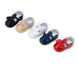 Wholesale Toddler Red Shoes Bow Black - Newborn Soft Sole Baby Shoes 2017 Princess Baby Bow Pu Leather Shoes Girls Shoes Toddler Prewalker Baby First Walker 354