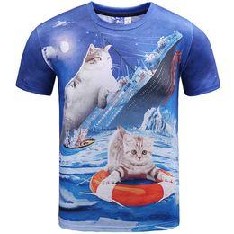Ropa titánica online-Titanic T shirt Swim ring cat vestido de manga corta Animal nice casual tees Ropa de impresión de calle Unisex camiseta de algodón
