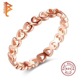 Wholesale Love Fashion Rings - BELAWANG Rose Gold Linked Love Stackable Heart Rings Real 925 Sterling Silver Rings For Women Original Fashion Jewelry Wholesale #678