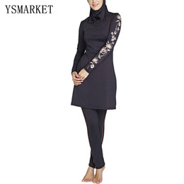 Wholesale Islamic Swimsuit Swimwear - Muslim Women Swimsuits With Cap Islamic Black Red Blue Swimwear 2017 Hot Newest High Quality Vintage Bathing Suit Plus Size 4XL Q2818