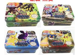 Wholesale Tin Card Boxes - 2017 DHL Ship Poke Trading Cards XY Series Collectors Tin English Edition Anime Pocket Monsters Cards Toys Metal Boxes Packing 41pcs lot