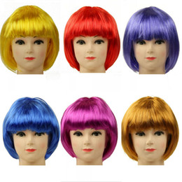 Wholesale Multi Color Short Wigs - Party Universal Student Cosplay Color Wig Graduation Bar Club Performance Color Wig Decoration Short Color Wig Mix Order Allowed