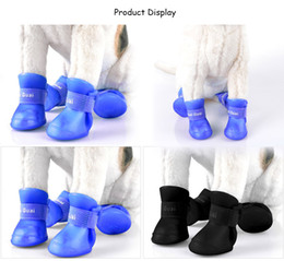 Wholesale Winter Proof - 2 Pair Environmental Harmless Durable Magic Tape Design Dog Cat Rain Shoe Snow-proof Boot Household Supplies +B