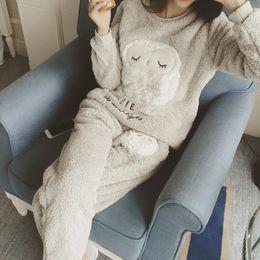 Wholesale Ladies Pants Suits Wholesale - Wholesale- Pajama Cartoon Women Ladies Home Nightclothes Sets Long Sleeve O-neck Sweatshirts+ Pants Warm Fleece Soft Sleep Suits