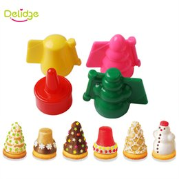Wholesale Rabbit Cookie Cutter - Delidge 4 pcs set Christmas And Animal Cake Mold Plastic Candy Color Tree Snowman Bird Rabbit Shape Cookie Cutter Mold
