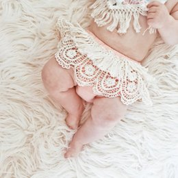 Wholesale Toddler Girls Bloomer Shorts - 2017 INS Baby Girl Infant Toddler Summer Lace Shorts Pants Tassels Shorts Pants Bloomers Diaper Covers Cute Tutu Skirt Cotton Hollow Ruffle