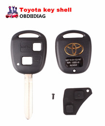 Wholesale Replacement Key Shell - Uncut Replacement Blank Remote Key Shell Case for Toyota Avensis Yaris Auris 2 Buttons Key Cover with rubber pad