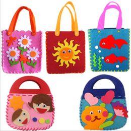 Wholesale Handbag Craft Kids - Wholesale-Cartoon Intellectual develop Kids Educational Toy Non-woven Cloth DIY sewing Handbag Kindergarden Handmade Crafts Children gift