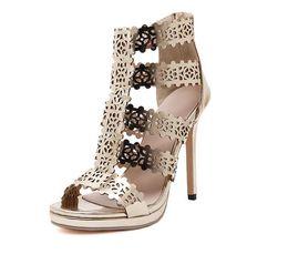Wholesale Sexy Gold Gladiator Heels - Hot sale Fashion High Heels Sandals Soft Leather Gladiator Women Pumps Shoes Sexy Ladies Golden Stilettos Party Wedding Nightclub shoes