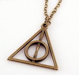 Wholesale Chain Choker Men - 3 Color Retro Choker Necklacehot Sale Movie Deathly Hallows Triangle Metal women Pendant Long Chain Necklaces & Pendants men