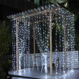 Wholesale Green Window Curtains - 3M*3M 300 Leds Window Curtain Icicle Lights String Fairy Light Wedding Party Home Garden Decorations 110V 220V Flash Fairy String Light