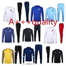 Wholesale Men Home Pants - soccer tracksuits home away champion league survetement 2016 2017 Real Madrid Chelsea Marseille Ronaldo UCL training sweater pants sportwear
