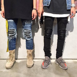 Wholesale Boys Size Skinny Jeans - Wholesale- 2017 Men's Jeans Blue and Black Size 30 To 36 Slim Fashion Pencil Pants Boy High Street Tide Brand Hole Old Man Only Jeans