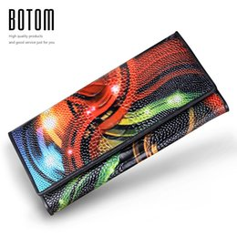 Wholesale Vintage Ostrich Purse - Wholesale- New Fashion Leather Women Wallet Vintage Flower Printed Ostrich Red Wallets Ladies' Long Clutches With Coin Purse Card Holder