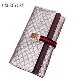 Wholesale Double Fold Wallet - Wholesale- Fashion Wallet Women Purse Luxury Brand Women Leather Handbags Coin Card Long lock Wallet Clutch bag Double Fold Money Wallets