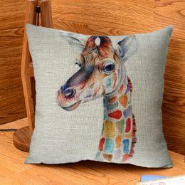 Wholesale Giraffe Throw - Wholesale- Modern Simple 18'' Cute Colorful Giraffe Cotton Linen Square Throw Pillow Case Soft Cover #84089