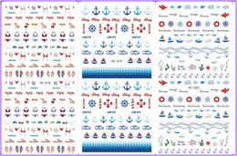 Wholesale Marines Decals - Wholesale- 3 PACK  LOT WATER TRANSFER DECAL NAIL ART NAIL STICKER MARINE BEACH ANCHOR BOAT FISH YE318-320