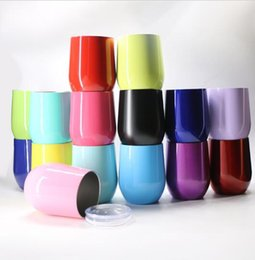 Wholesale 9 oz egg cup color Stainless Steel Vacuum Insulated Beer Mugs Powder Coated Stemless Cup Wine Glass With Lid KKA1976