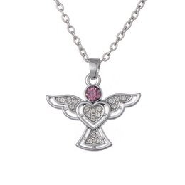Wholesale Crystal Birthday Angels - Angel shape HeartPink & Clear Rhinestone & Crystal Paved Zinc Alloy Pendant Necklace for Women as Birthday Festival Gifts
