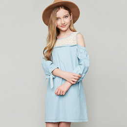 Wholesale Half Age - Baby Girls Clothes Children's lace stitching strapless dresses Fashion denim dress for girls ages 7-14 z66