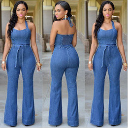 Wholesale Cheap Woman Jeans - Casual Jean Jumpsuits 2017 New Style Fashion Long Denim Pants Rompers Halter Neck Sleeveless Leisure Women Jeans Cheap FS1741