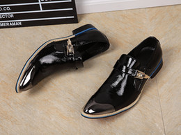 Wholesale Bridegroom Shoes - Brand Designer Metal Pointy Toe Dress Shoes Buckle Shinny Flat Bridegroom Wedding Shoes Men Black Soft Leather Zapatos Hombre