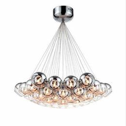 Wholesale modern chrome lamp - Modern led glass chandeliers led pendant lighting Chrome Glass Balls Chandeliers lighting G4 Hanging Chandelier Lamp Fixture