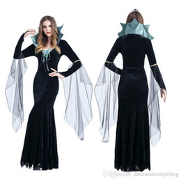 Wholesale Halloween Dress Witch - Halloween Witch Costume For Women Sexy Fashion Swallow Tail Braces Dress With Black Witch Hat Carnival Party Costume