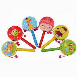 Wholesale Wooden Toys Rattles - Wholesale- 2017 Infant Toddler newborn Toys Wooden Rattle Pellet Drum Cartoon Musical Instrument Toy for Child Kids Birthday Easter Gift