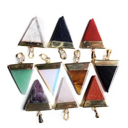 Wholesale triangle gem - 2017 Reiki Healing Natural Gem Stone Fashion Jewelry Gold & Silver Plated Triangle Natural Stone Pendant for Girl Gift AXS-A087