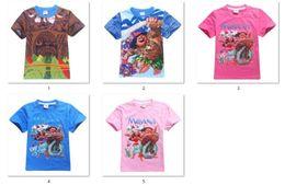 Wholesale T Shirt Kid Design - 5 designs New Boy Kids Moana girls boys T-Shirt Cartoon Short Sleeve Top Tees 30Pcs Lot