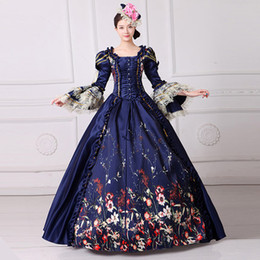 Wholesale Vintage Carnival Dress - Marie Antoinette Dress Civil War Southern Belle Gown 2017 Vintage Royal Embroidery Women Lace Dress Reenactment Clothing FN201
