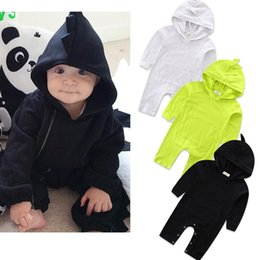 Wholesale 4t Girls Fall Clothes - 3 colors INS Baby kids fall Long sleeve pure color hooded conjoined garment romper Dinosaur series Siamese clothes girl boy infant romper