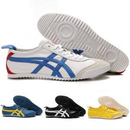 Wholesale Sheepskin Flats - 2018 Wholesale Asics Originals Sheepskin Onitsuka Tiger MEXICO 66 Lightweight Retro Top Training Running Shoes Yellow Blue Sport Sneakers