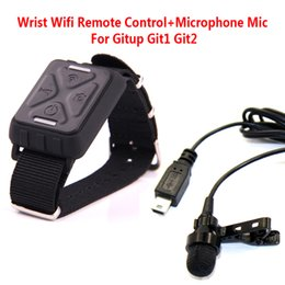 Wholesale Sport Camera Microphone - Wholesale- Free Shipping!!Wrist Wifi Remote Control+Microphone Mic For Gitup Git1 Git2 Sports Helemet Action Camera