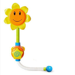 Wholesale Water Toy Package - Kids Children Baby Bath Toy Sunflower Shower Faucet Bath Water Play Learning Toy Gift Retail Package YH1015