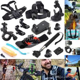 Wholesale Bobber Helmets - 12 In 1 Travel kit Wrist Strap +Helmet Mount Head Chest Belt Mount +Bobber For 4K gopro Action Camera