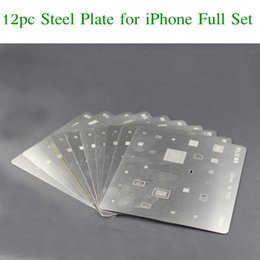 Wholesale Soldering Plate - 12PCS Motherboard IC Chip Ball Soldering Net Steel Plate for iPhone 7 Plus 7 6s 6 5s 5c 5 4s 4 SE Main Board CPU Repair Tool Set