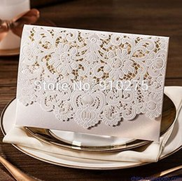 Wholesale Lace Wedding Invitations Sets - Wholesale- Set of 30 White Laser Cut Hollow Lace Floral Invitation Cards Wedding Party Template Invite Favors