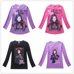 Wholesale Believe Letters - Kids Girl Movie Descendants Believe in Yourself Print Tops Long Sleeve T-shirt 100% Cotton Children Spring Clothes For BIG GIRLS