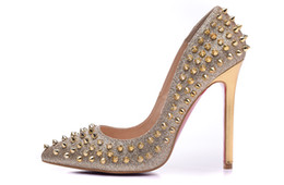 Wholesale Gold Heels Spikes - New 2017 Women Gold Glitter Leather With Spikes Women High Heels,Brand Design Ladies Pumps 10 12cm Heel Sandal Shoes 35-42 Drop Shipping