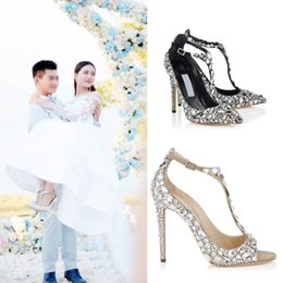 Wholesale T Strap Peep Toe Pumps - Diamond Wedding Shoe peep open toe Pumps Jeweled Heel Gladiator Sandals Women Rhinestone Crystal Embellished T Strap Summer Party Shoes