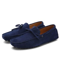 Wholesale Grey Men Boat Shoes - Mens Shoes Casual 2017 Suede Leather Men Shoes Fashion Men Loafers Moccasins Slip On Men's Flats Male Boat Shoes Plus Size 38-47
