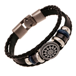 Wholesale Sunflower White - Lover's Leather Bracelet Fashion Leather Woven Sunflower Charms Cuff Bracelet Bangles for Women Mens Punk Jewelry